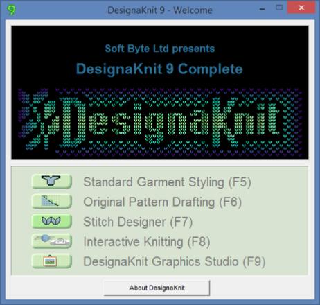 DesignaKnit starting screen